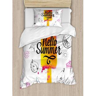 700384f91c4e Ice Cream Hello Summer Motivational Quote with Heart Sun Cake Color Splash  Image Duvet Cover Set