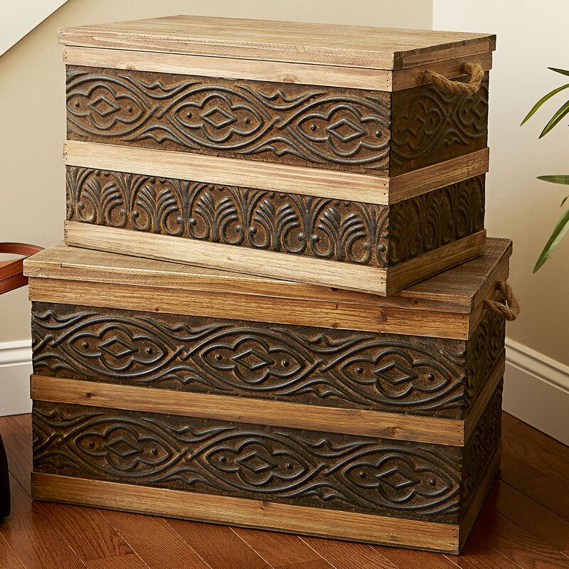 2 Piece Metal Banded Wooden Storage Trunk Set