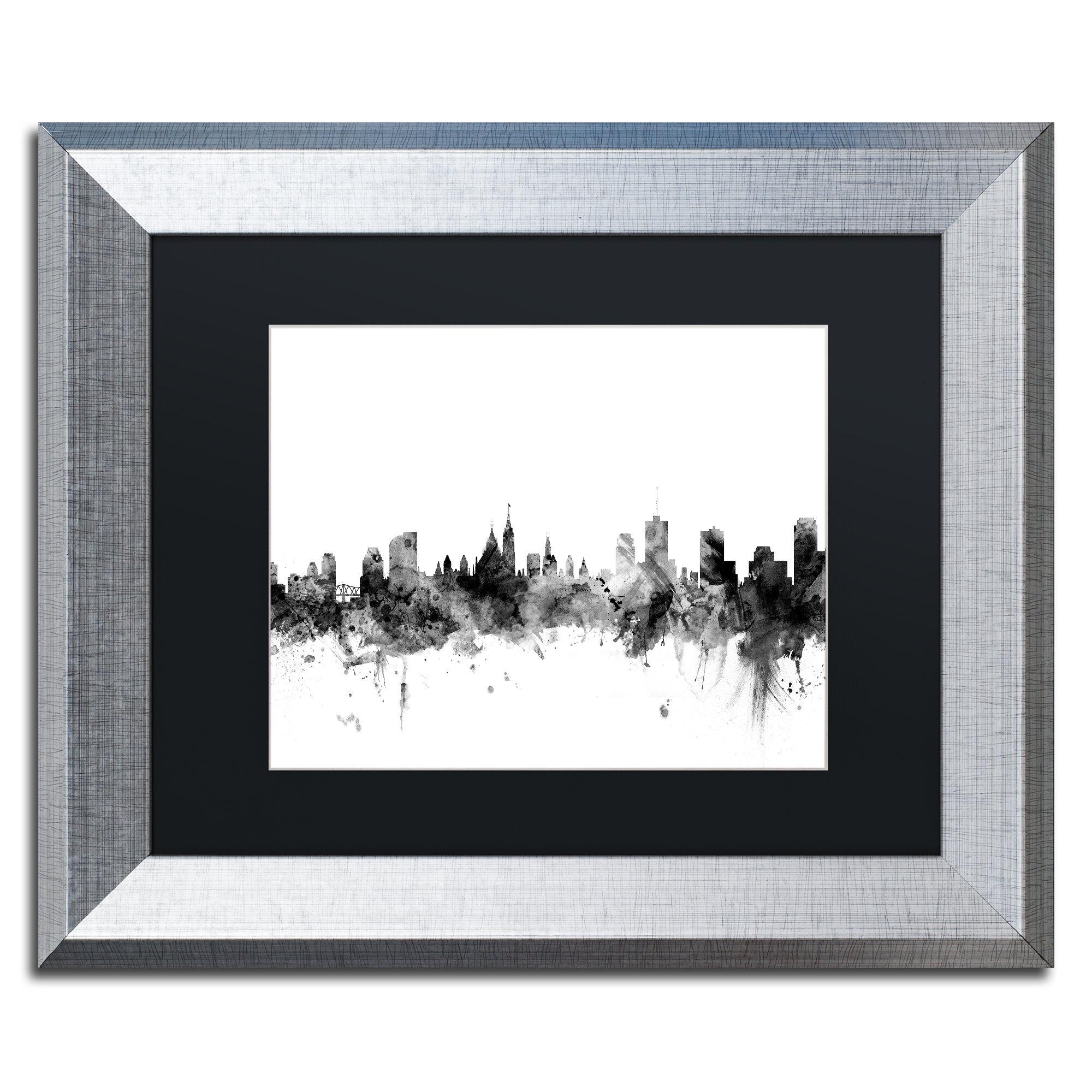 Trademark Art Ottawa Canada Skyline B Amp W Framed Graphic