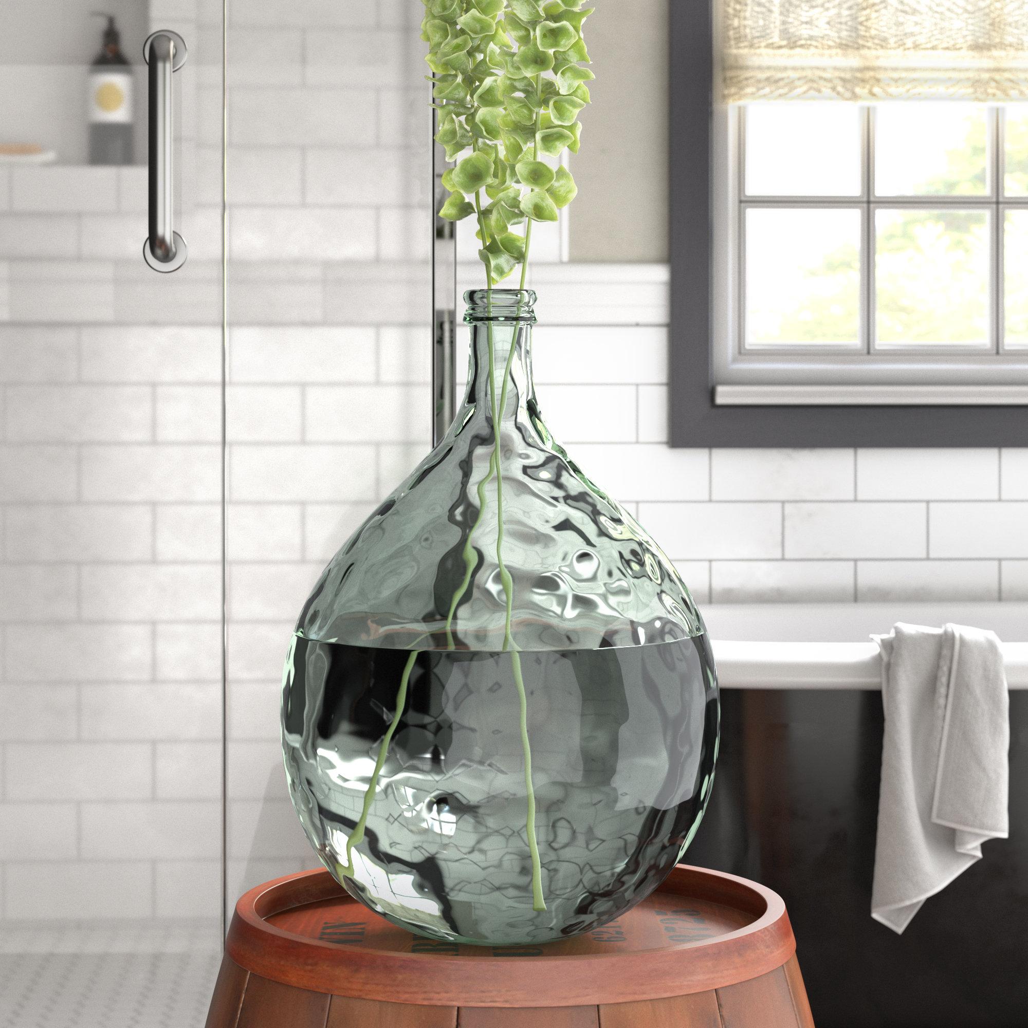 Fresh Laurel Foundry Modern Farmhouse Clear Glass Decorative Floor Vase  VU94