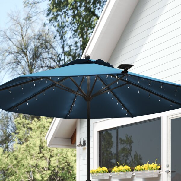 Solar Umbrella With Lights | Wayfair
