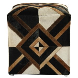 Riley Diamond Leather Pouf Ottoman by Blooms..