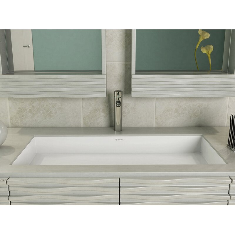 Sondra Solid Surface Acrylic Rectangular Undermount Bathroom Sink With Overflow