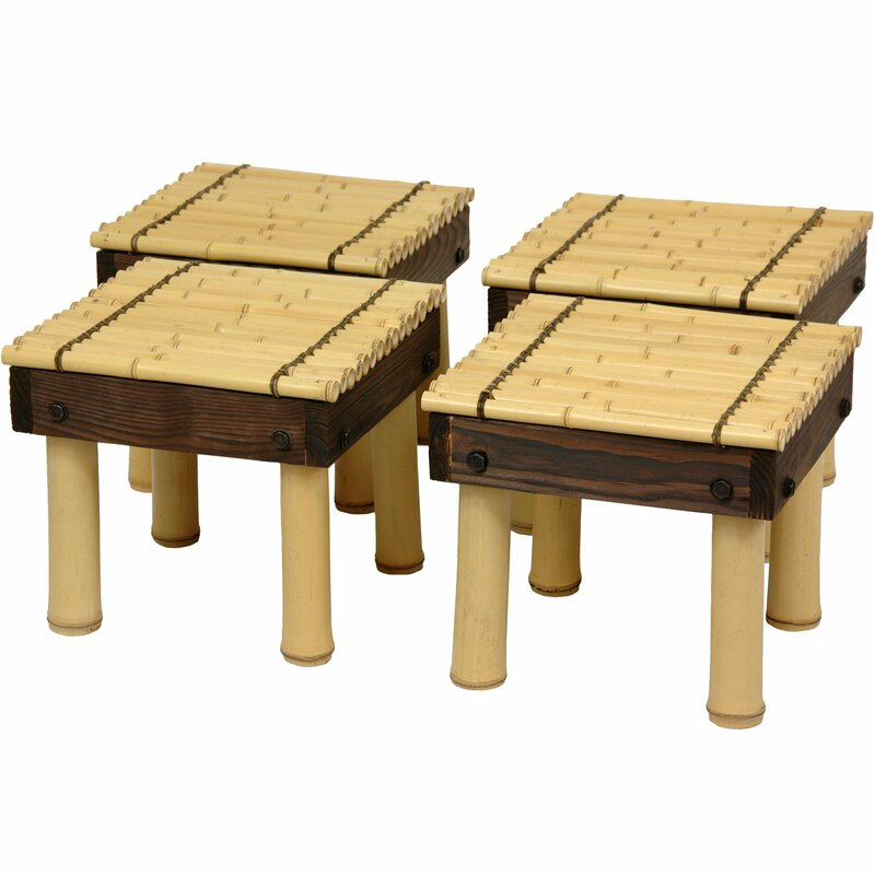 Beau Gina Bamboo Coffee Table With Four Stools