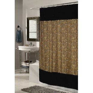 Shadai Faux Fur Trimmed Shower Curtain