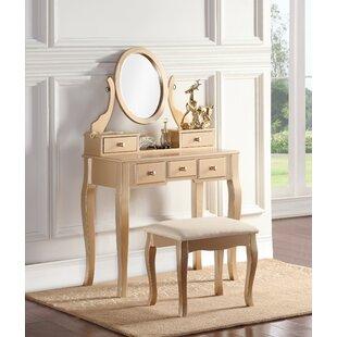 oak makeup vanity set. Zeke Wood Makeup Vanity Set with Mirror Rose Gold  Wayfair