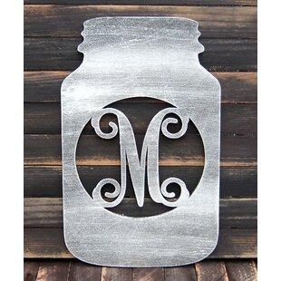 Wooden Mason Jar Ampersand Monogram Wall Decor