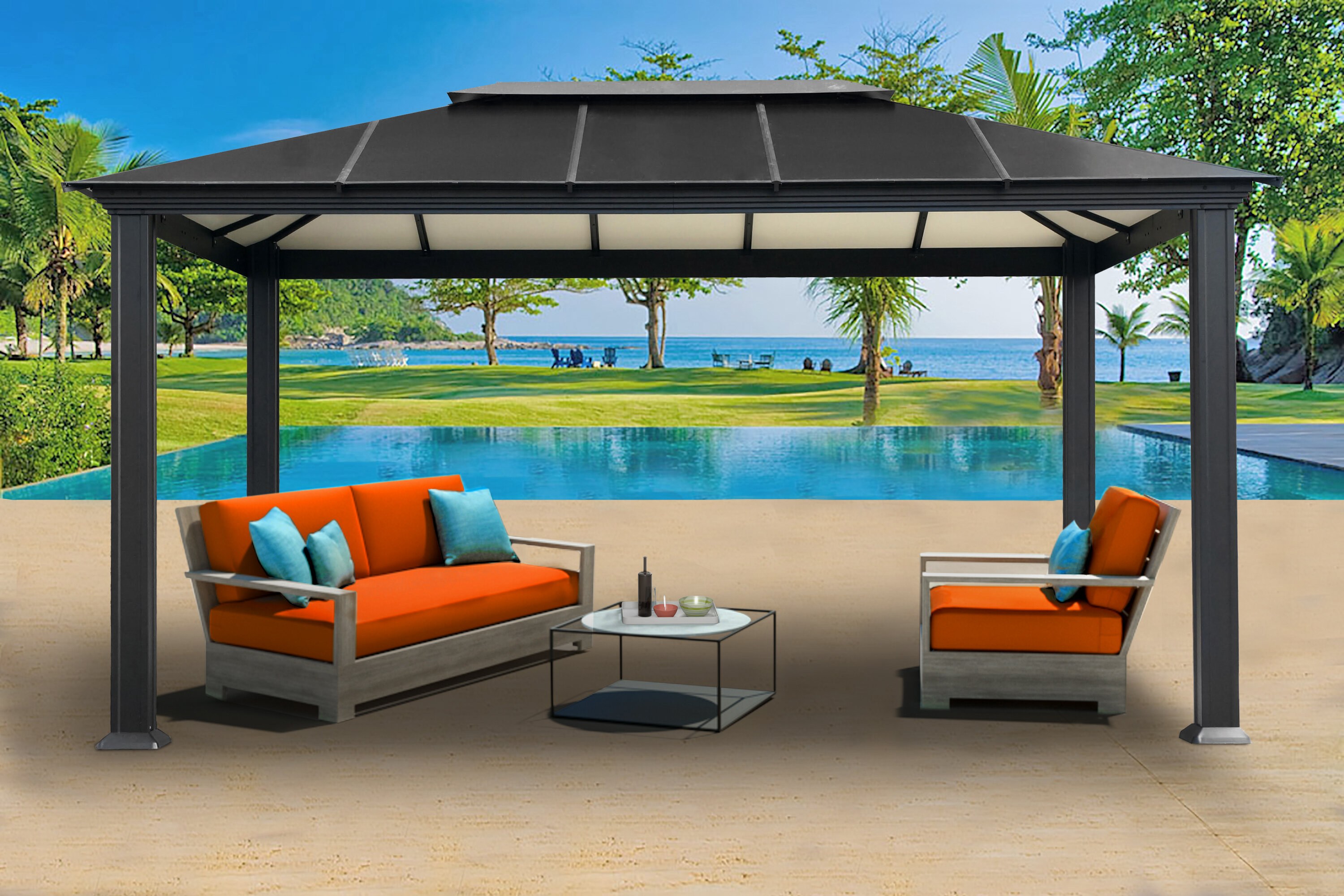 Paragon-Outdoor Newport 10.5 Ft. W x 16 Ft. D Aluminum Patio Gazebo on small deck with gazebo, small garden pavilion, backyard fire pit with gazebo, small outdoor living area ideas, small kitchen design ideas, small outdoor living spaces ideas, small backyard makeovers, small patio gazebo ideas designs, landscaping ideas around a gazebo, small garden ponds ideas patio, small patio gazebo in backyard, small balcony garden ideas, circle with small back yard gazebo, backyards decorating ideas for gazebo, garden gazebo, small front yard landscaping ideas, shabby chic decorating ideas gazebo,