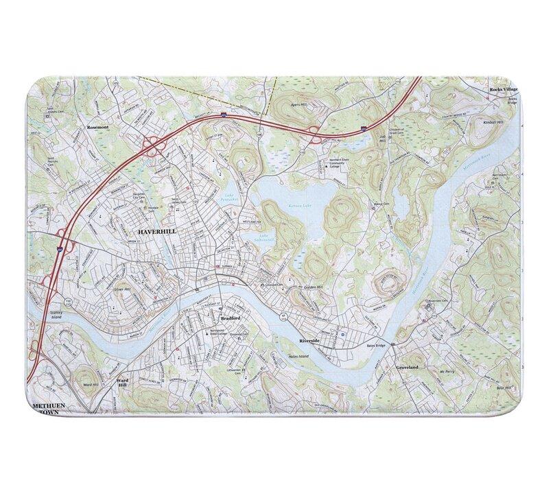 Haverhill Ma Zip Code Map.Breakwater Bay Mercurio Haverhill Ma Topo Map Memory Foam Bath Rug