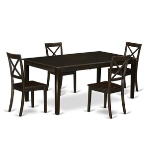 Forada 5 Piece Extendable Solid Wood Dining Set