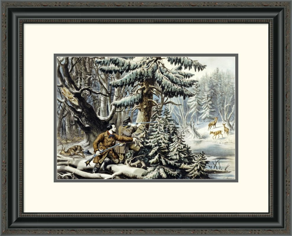 Global gallery 39american winter sports deer shooting on for Best brand of paint for kitchen cabinets with wall art for kids bathroom