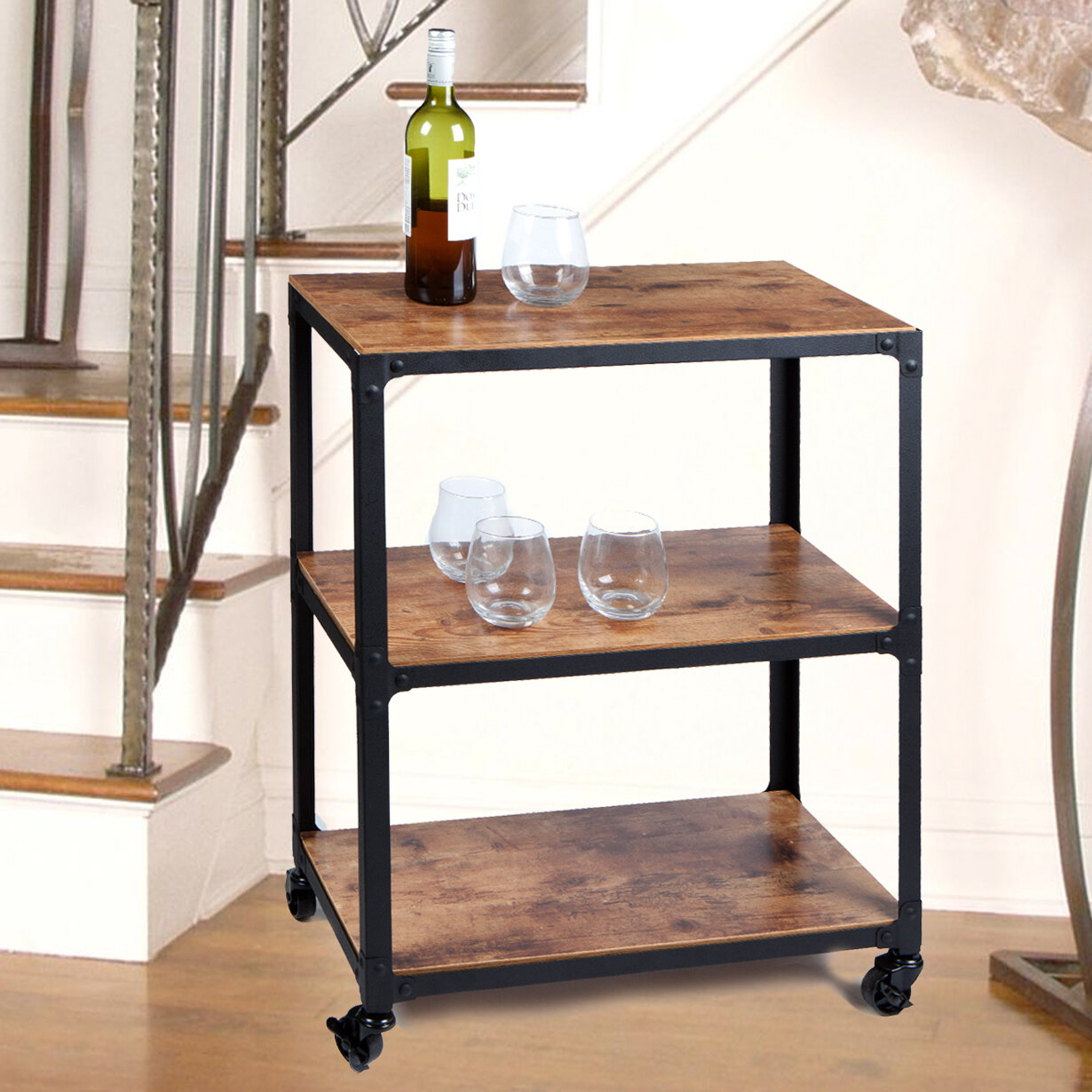 Charm 3 Tier Wood And Metal Utility Cart