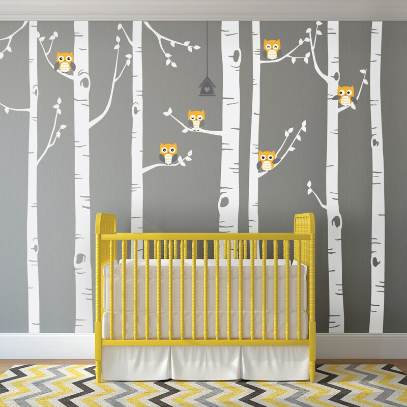 Superior Birch Tree With Owl Wall Decal Part 23