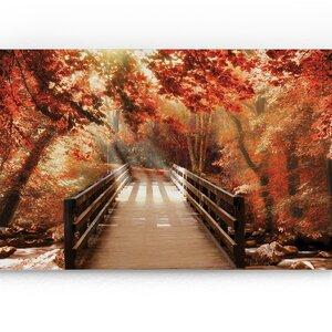 'Autumn Bridge' Photographic Print on Wrapped Canvas