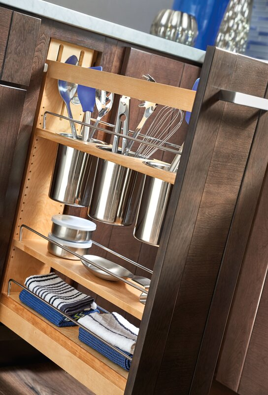 organizing a kitchen rev a shelf 5 quot pull out cabinet utensil organizer 1261