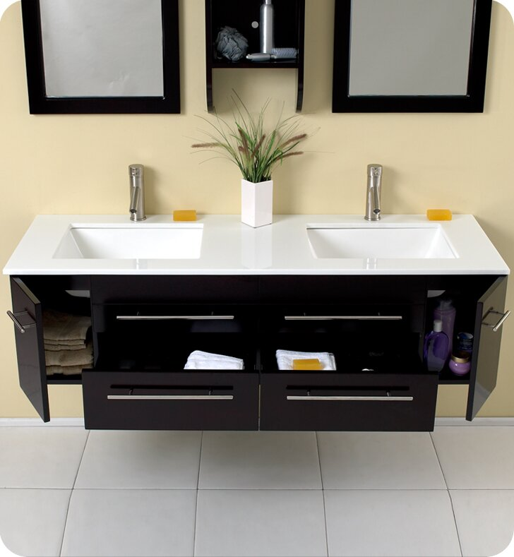 "Bathroom Vanity Table fresca stella bellezza 59"" double bathroom vanity set with mirrors"