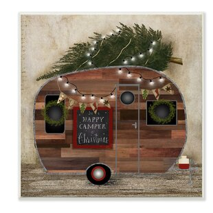 happy camper at christmas graphic art print