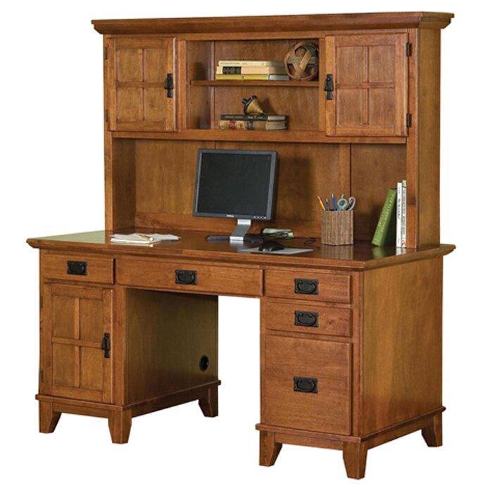 Three Posts Ferryhill Pedestal Computer Desk With Hutch