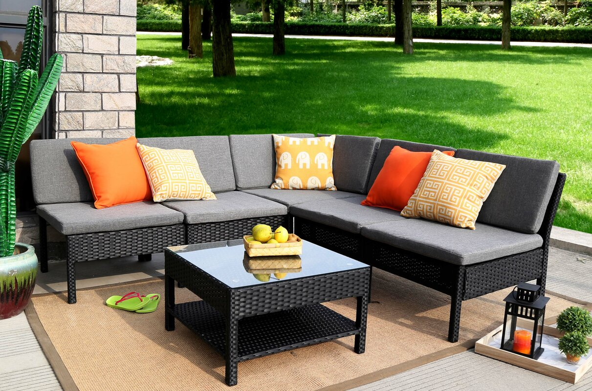 Mn Complete Patio Garden 6 Piece Sectional Set With Cushions