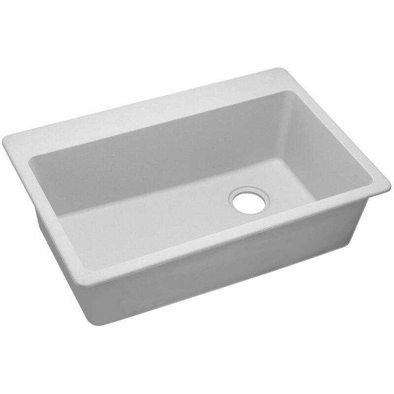 """White Top Mount Kitchen Sink elkay quartz classic 33"""" x 22"""" single bowl top mount kitchen sink"""