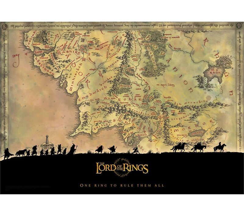 MightyPrint Lord of the Rings Trilogy \'Middle Earth\' Graphic Art ...