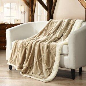 Boneta Pinch Pleated Sherpa Faux Fur Throw Blanket