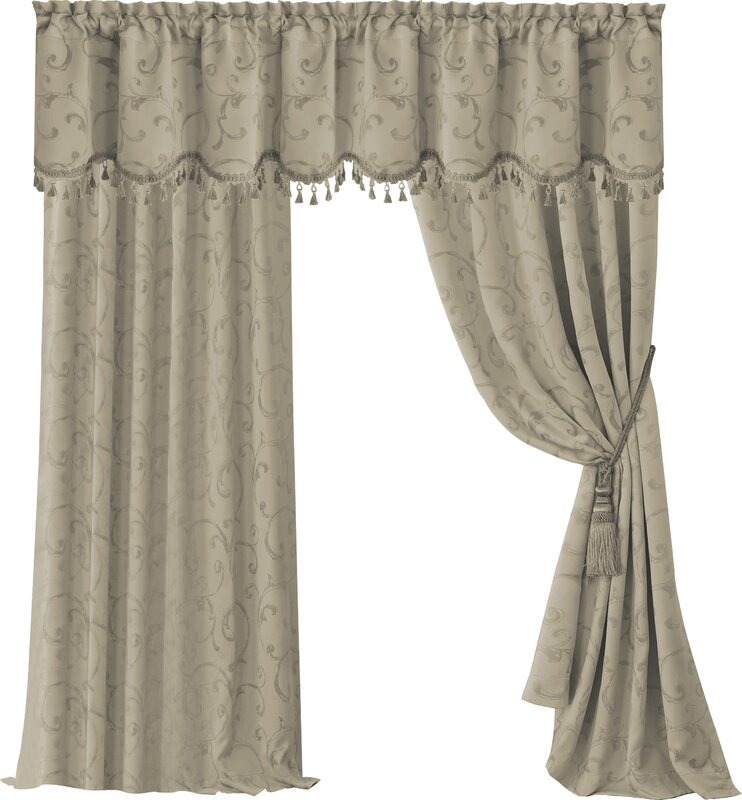 Elrene Home Fashions Mia Jacquard Damask Blackout Rod Pocket ...