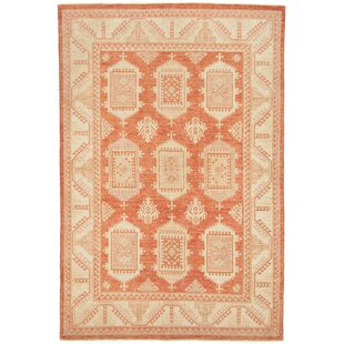 Cherokee Hand Knotted Wool Red/Beige Rug by Rosalind Wheeler