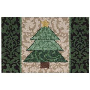 Christmas Hand Hooked Green/Beige Area Rug