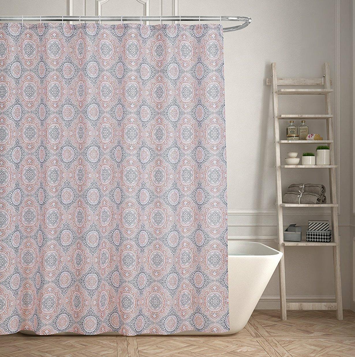 Bungalow Rose Contemporary Geometric Medallion Shower Curtain | Wayfair