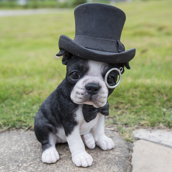 Hi Line Gift Ltd Boston Terrier With Top Hat Statue