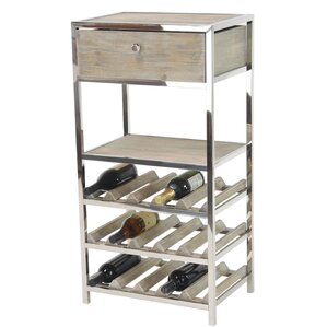 H.T Rustic Stainless Steel and Pine Wood Tabletop Wine Bottle Rack by 17 Stories