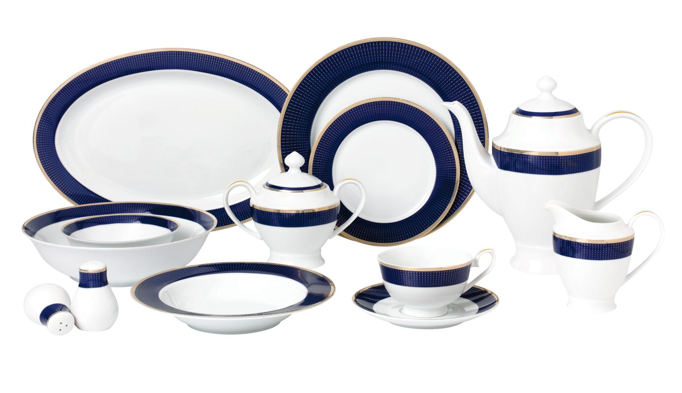 La Luna Bone China 57 Piece Dinnerware Set Service for 8  sc 1 st  Wayfair : dinnerware set for 8 - pezcame.com