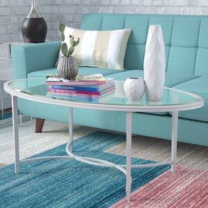Buloke Metal/Glass Oval Coffee Table