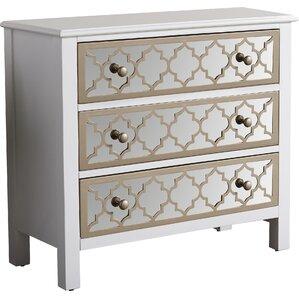 fernwood 3 drawer overlay mirrored accent chest