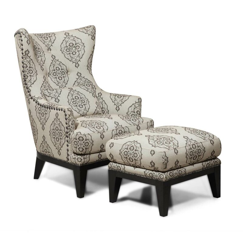 darby home co baltic wingback chair and ottoman reviews wayfair