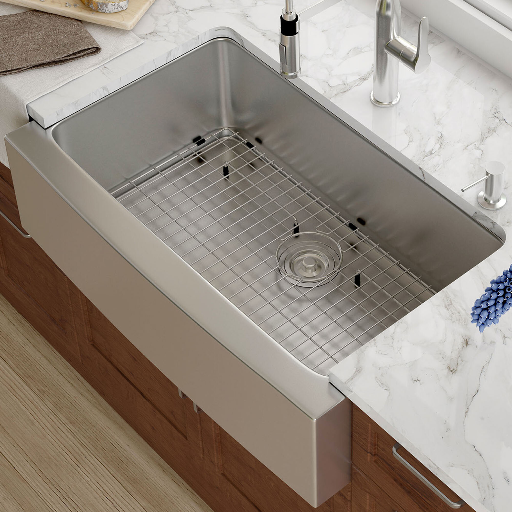 open kitchen sink kraus 33 quot x 21 quot farmhouse kitchen sink with drain assembly 1208