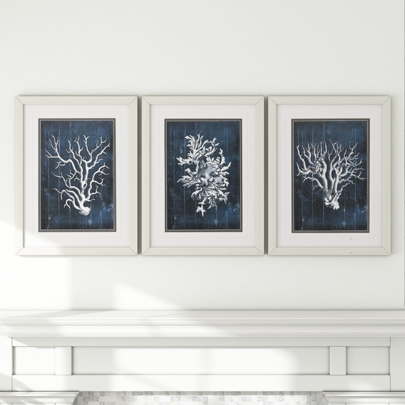 39 wood coral 39 3 piece framed graphic art set in blue reviews joss main. Black Bedroom Furniture Sets. Home Design Ideas