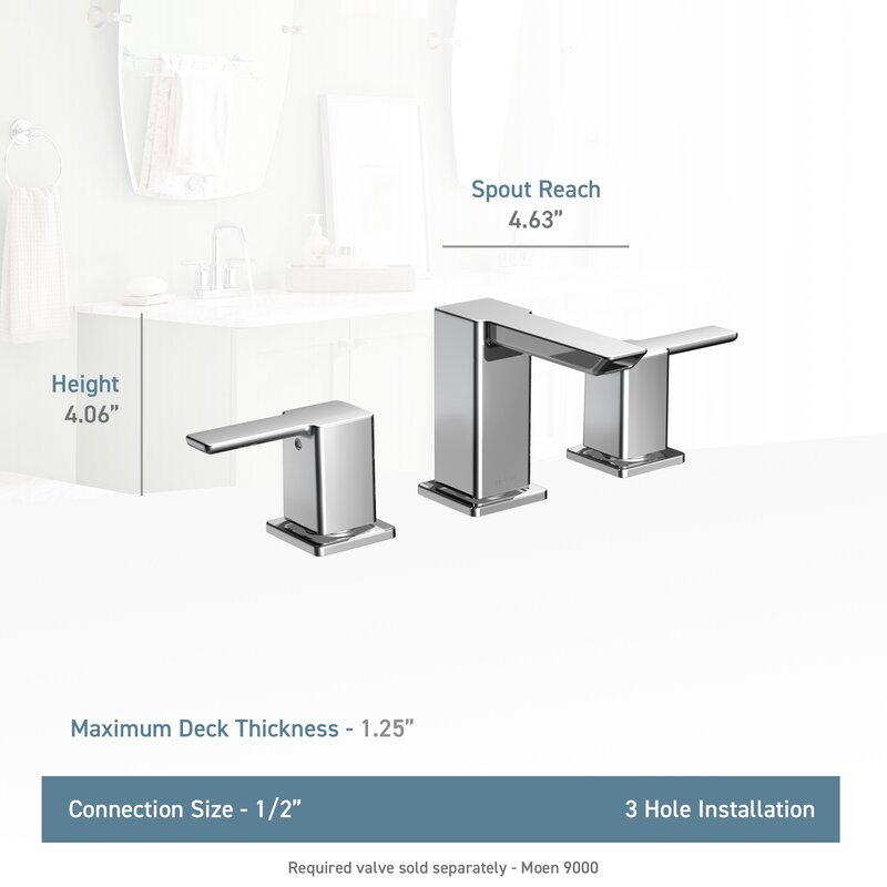90 Degree Widespread Bathroom Faucet With Drain Embly