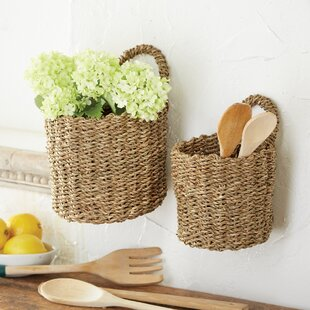 Hanging Seagrass Wicker/Rattan 2 Piece Basket Set
