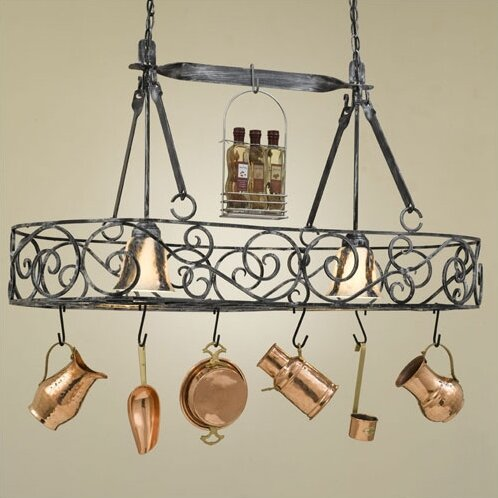 Hi Lite Authentic Iron Oval Hanging Pot Rack With 2 Lights