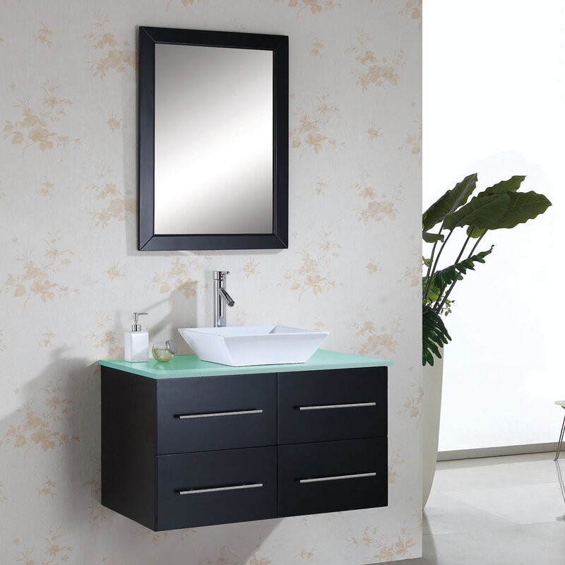 "Bathroom Vanity Glass Top mercury row decastro 35"" single bathroom vanity set with tempered"