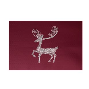 Deer Crossing Decorative Holiday Print Cranberry Burgundy Indoor/Outdoor Area Rug ByThe Holiday Aisle