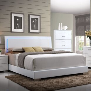Schiavone Upholstered Panel Bed With Led Light