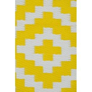 Nirvana Yellow White Indoor Outdoor Area Rug