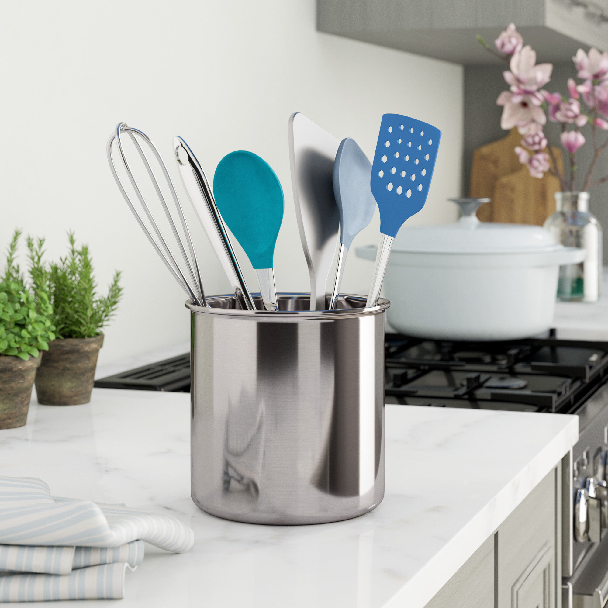 Rebrilliant Jumbo Stainless Steel Utensil Holder & Reviews | Wayfair