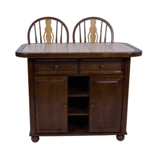 Lockwood Kitchen Island with Ceramic Tile Top by Loon Peak