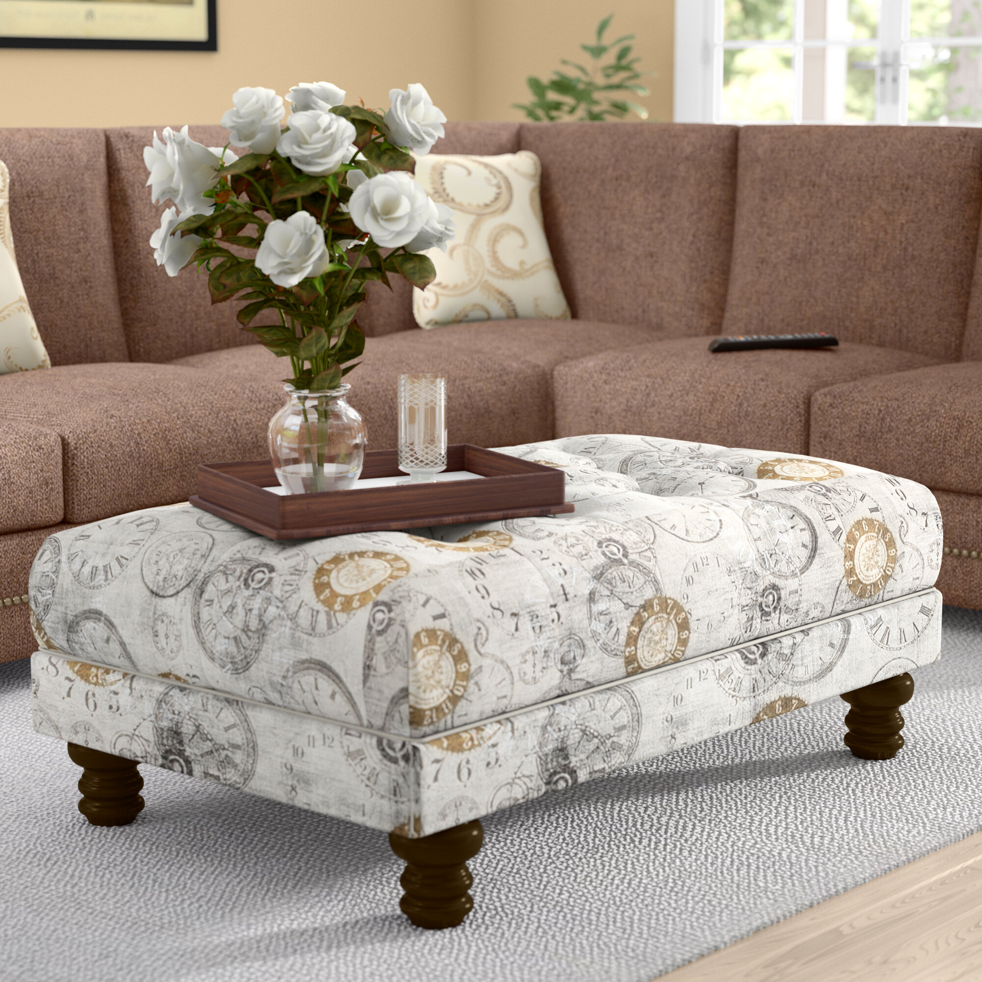 ottoman item ditto storage ottomans products number floral accent transitional craftmaster