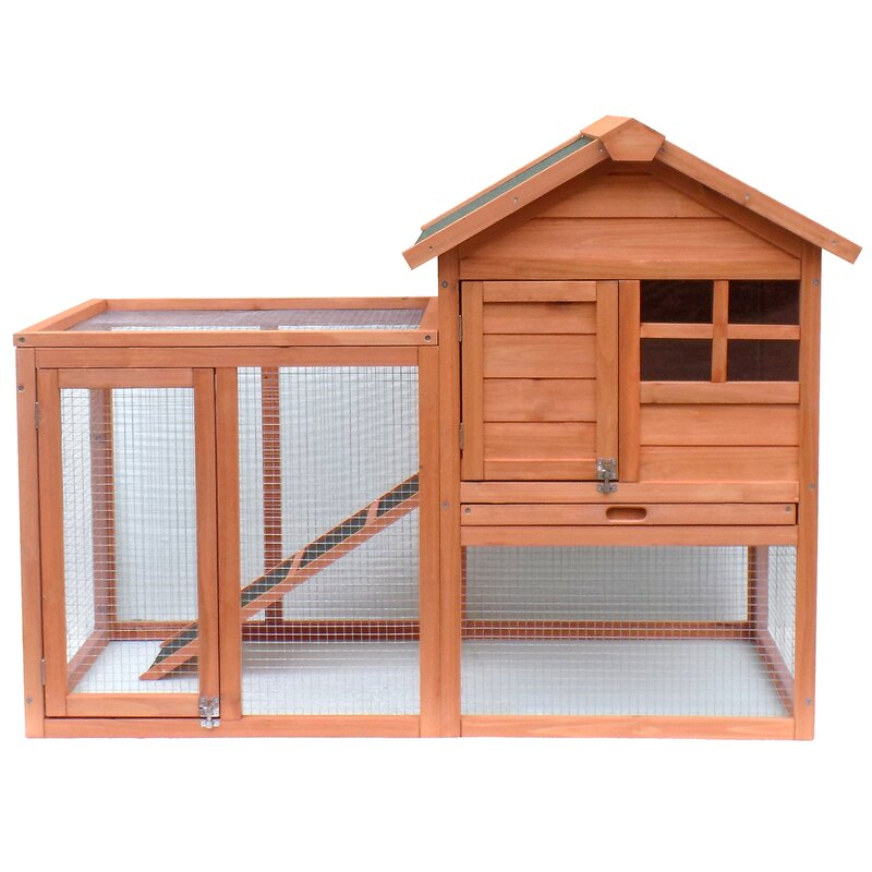 Merax Wooden Rabbit Hutch With Fence And Ramp Reviews Wayfair Ca