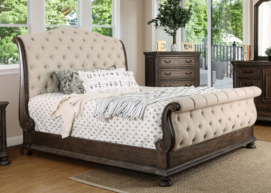 Astoria grand murillo transitional upholstered sleigh bed reviews for Upholstered sleigh bedroom set